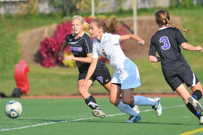 Senior defender Emily Gupton and the Bishop Ireton girls' soccer team lost to undefeated Holy Cross on Sept. 25.