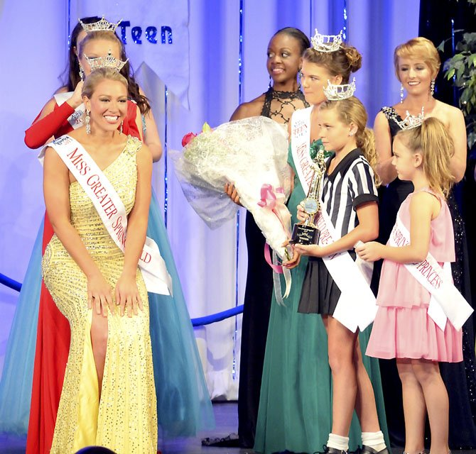 Jennifer Gilbert, Miss Greater Springfield 2013, is attended by Cassie Donegan, Miss Greater Springfield Outstanding Teen 2013, Danielle Ritter, Miss Greater Springfield Outstanding Pre-Teen 2013, and Hannah Grau, Little Miss Princess Greater Springfield 2013.