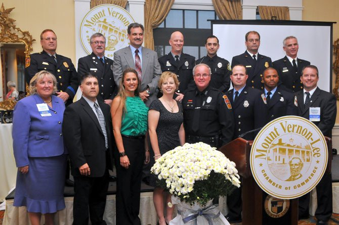 2012 Public Safety Personnel honorees: Franconia Police Station  Detective of the Year Monica A. Meeks, Police Officer of the Year PFC Brooke Wright, Auxiliary Police Officer Dan Wenger and Continuous Service Awardee 2nd Lt. Paul G. Cuzzolino; Mount Vernon Police Station  Detective of the Year David E. Koenigsberg, Police Office of the Year MPO Mark Yawomicky, Volunteer of the Year Woulter K. (Van) Vanderwal and Continuous Service Awardee MPO Greg Kotterman; Fort Belvoir Public Safety  Fort Belvoir Firefighter of the Year James T. Wade and Ft. Belvoir Police Officer of the Year Gregory Bush; Fairfax County Fire &amp; Rescue Department  Volunteer Firefighter of the Year Capt. Deborah Volker, Continuous Service Awardee Technician Robert Hicks, Company Officer of the Year Capt. I Steve Norris, Firefighter of the Year Master Technician Cliff Chip Sweeney and EMT/Medic of the Year Capt. II James Jamie Lee. With the honorees are Chamber Chairman Michael Gailliot (Hilltop Golf Club) and President Barbara Doyle (Inova Mount Vernon Hospital).