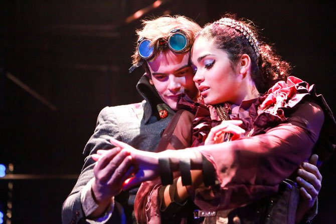 "Synetic Theater's ""Jekyll and Hyde"" stars Alex Mills as Jekyll and Hyde and Brittany O'Grady as The Fiancee."