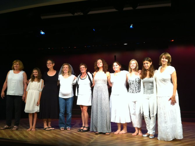 """The Goddess Diaries"" rehearsal picture from the July 2012 DC Fringe Festival Performance. From left: Susan Bennett, Olivia Herbold, Kim Scudera, Kay Campbell, Annetta Sawyer, Patricia Talmadge, Bethany Michel, Alex Giller, Brittany Martz and Cami St. Germain."