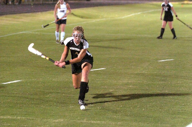 Westfields Katelyn Rennyson scored the lone goal in the Bulldogs 1-0, weather-shortened victory against South County on Sept. 27.