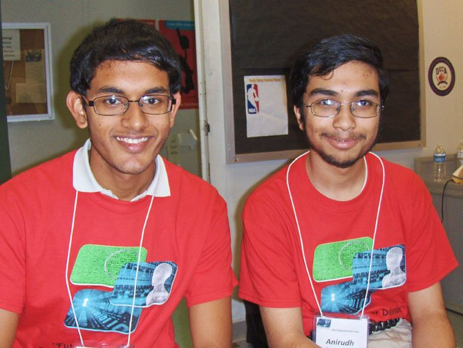 Chantilly students Revanth Kolli (left) and junior Anirudh Bagde during Cybersecurity Camp.
