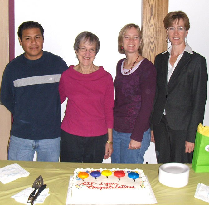 From left: Carlos Gonzalez, Alice Foltz, Terry Angelotti and Shani Moser help celebrate the CIF's one-year anniversary last fall when Moser was introduced as the center's director.