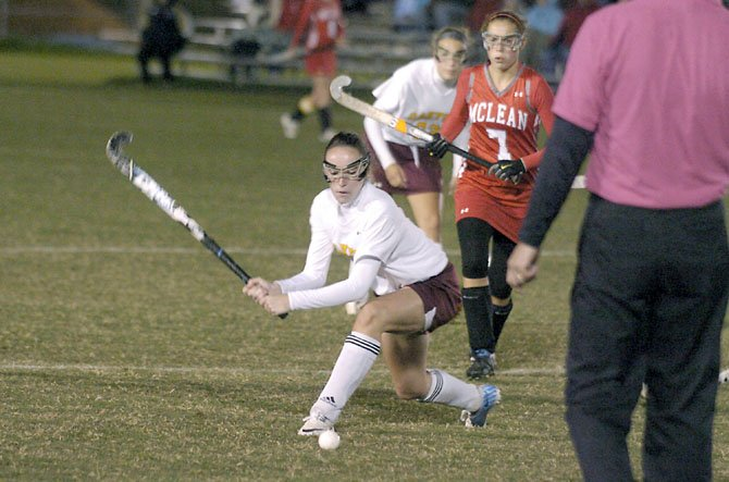 Oakton junior Jennifer Prosser scored a goal against McLean during a 2-0 Cougar victory on Oct. 8 at Oakton High School.