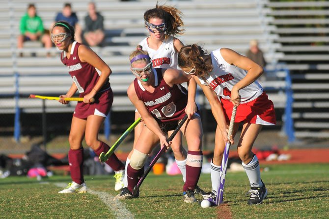 Jane Heller (18) scored the Mount Vernon field hockey team's lone goal via penalty stroke during a 1-0 win against Stuart on Oct. 6.