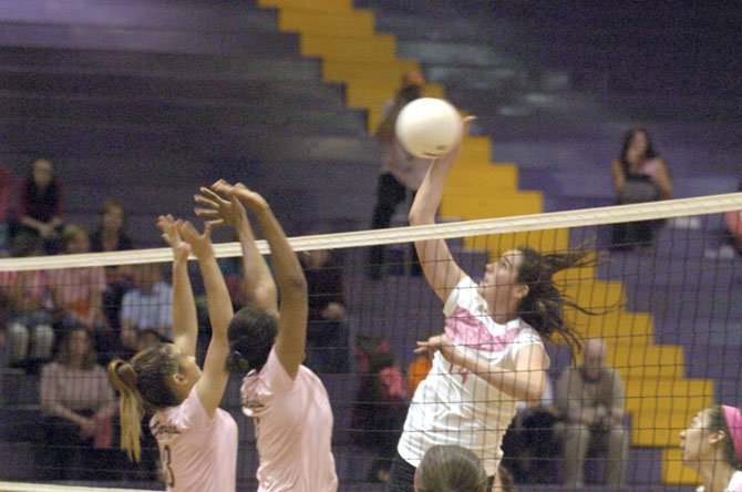 Lake Braddock senior Natalie Butler had 10 kill-blocks against West Springfield on Oct. 9. Butler, a six-foot-four middle blocker, has a basketball scholarship to Georgetown.
