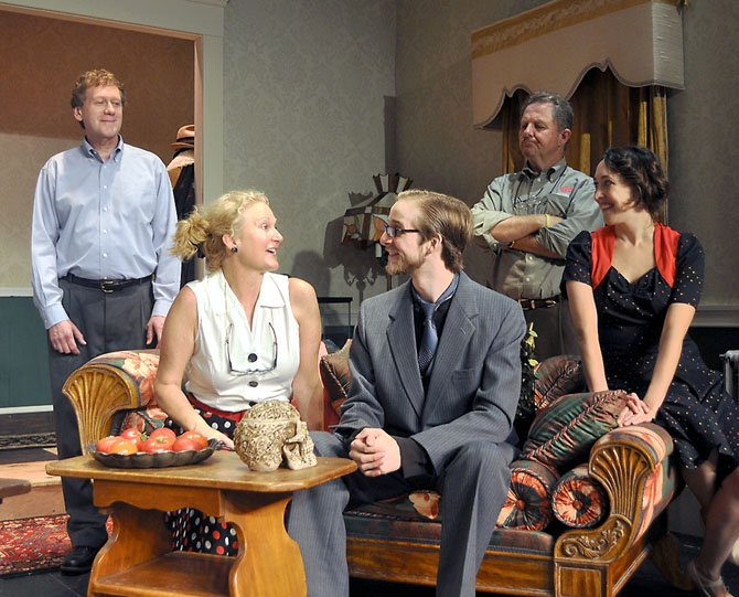 "From left, Mike Dazé (Paul), Sara Bennett (Penny), Christopher Schwartz (Tony Kirby), Joe Gargiulo (Mr. DePinna) and Andra Whitt (Essie Carmichael) in rehearsal for the Providence Players production of ""You Can't Take it with You."""