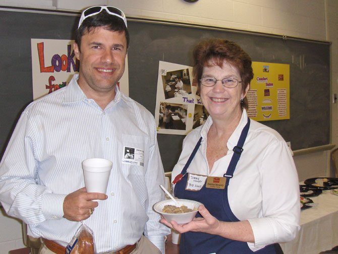 From left: Securis President Jeremy Farber and Debbie Mowery of Bob Evans, helped sponsor the breakfast and participate in the program.
