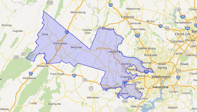 The new 10th Congressional District, which will see incumbent Rep. Frank Wolf (R) face off against Kristin Cabral (D) and Kevin Chisholm (I) Nov. 6.