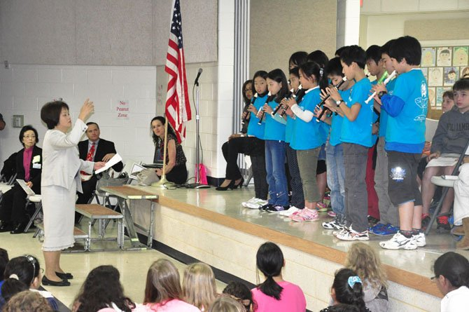 Students from Yabe Elementary School in Japan perform at Spring Hill Elementary School Tuesday, Oct. 9.