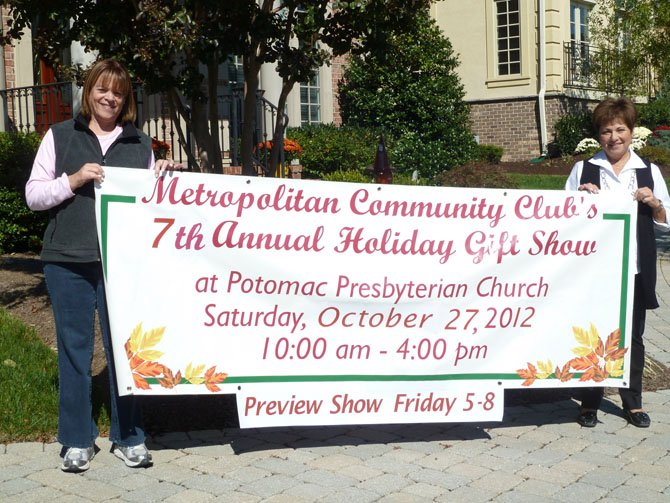 Susan Magafan and Joanna Simeone advertise the Metropolitan Community Club Craft Fair.