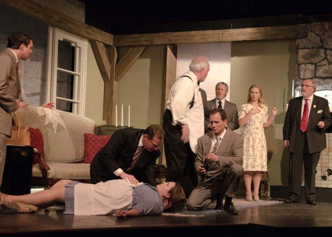 """Everyone is accused,"" from left, Evan Milberg, Amy Wolf (on floor) Bob Cohen, Bailey R. Center, Davis James, Jenni Patton and Jim Howard appear in ACCT's production of Agatha Christie's ""And Then There Were None."""
