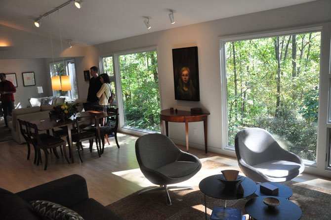 The living room of the home of David and Joanne Bauer, which faces the Glade stream valley. The home was one of several on the annual Reston Home Tour Saturday, Oct. 13.
