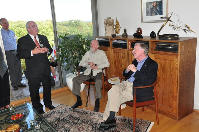 Rep. Gerry Connolly (D-11) speaks at the home of Robert Simon Sunday, Oct. 14.