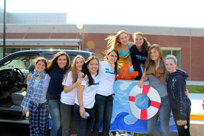 "Sophomores team up to present the ""Little Mermaid."" From left: Elana Margosis, Maddie Donley, Charlotte Constantinides, Carleyn LeGrant, Annalisa Scott, Grace Maurer, Rachel Finley, Emily Richter, Sarah Malks."
