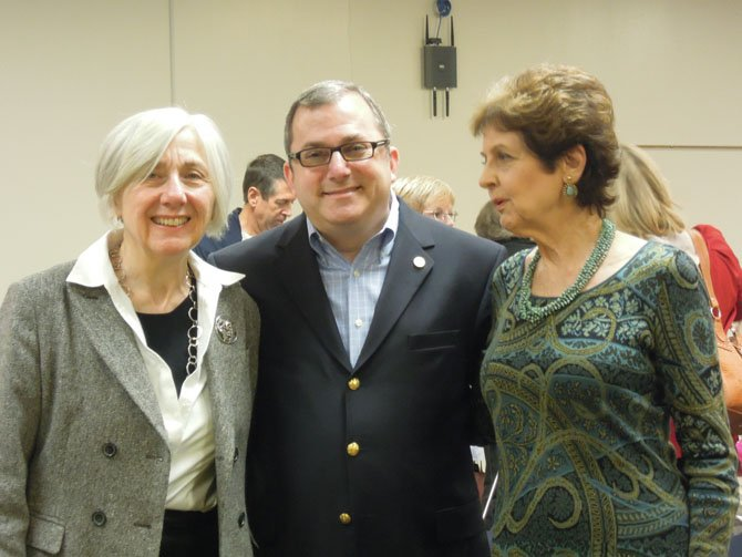 Catherine Kreps, president of American Association of University Women (left), state Sen. Adam Ebbin (center) and Jeanne Gayler, project director for the human trafficking issue for AAUW (right) on Thursday, Oct. 11, at the Sherwood Library.