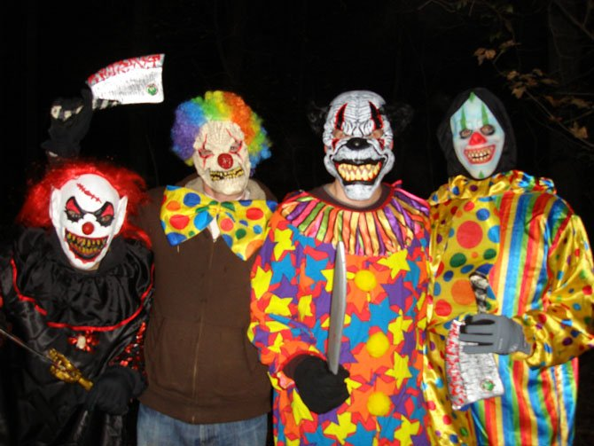Last year's Scary Clowns on the Haunted Trail were (from left) Steve Parrott, R.J. Carey, Eric Hencken and Rick Layfield.