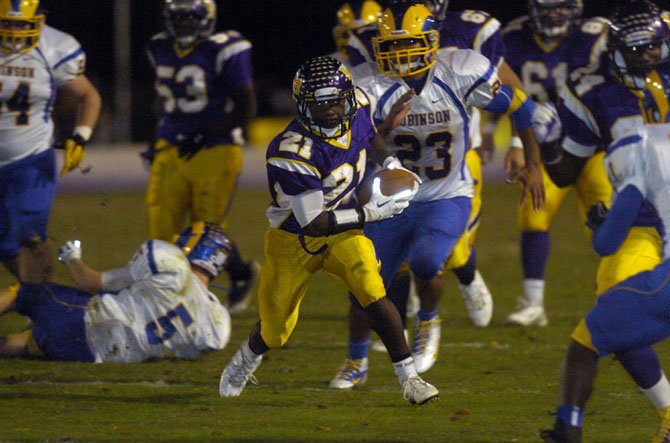 Lake Braddock running back Aaron Hollins carried 17 times for 95 yards and two touchdowns during the Bruins 32-7 victory against Robinson on Oct. 12.