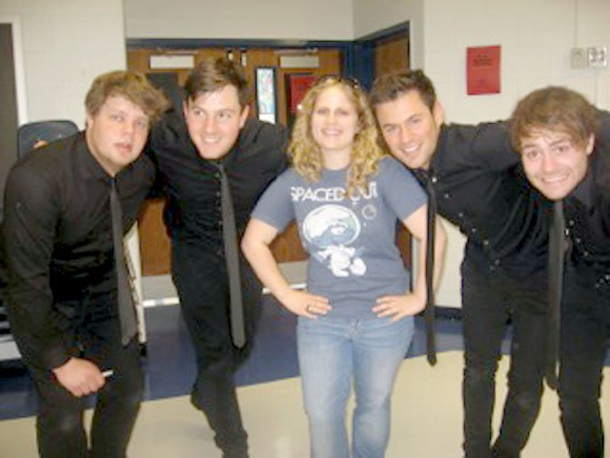 West Springfield High School junior Diana Schulberg with the band ARTIG. (From left) Dave, Chris, Max and Martin.