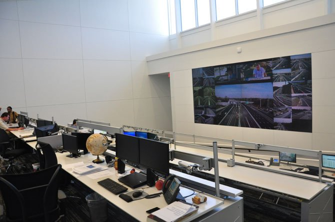 The main screen at the 495 Express Lanes Operations Center in Alexandria, which provides complete coverage of the lanes in order to set the toll pricing.