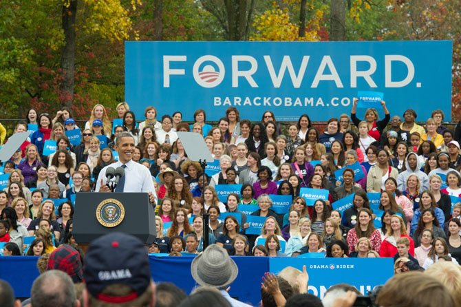 "President Barack Obama was relaxed and playful delivering his ""Romnesia"" quips before a crowd of 10,000 supporters during the rally at GMU on Friday, Oct. 19. Much of his short stump speech focused on issues affecting women and healthcare."