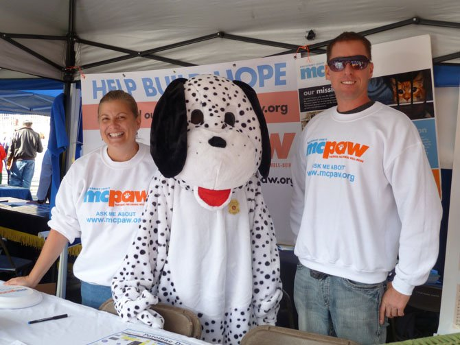 Toni Stiefet and Kenny Kelley with MCPAW the Dalmatian at Potomac Day.
