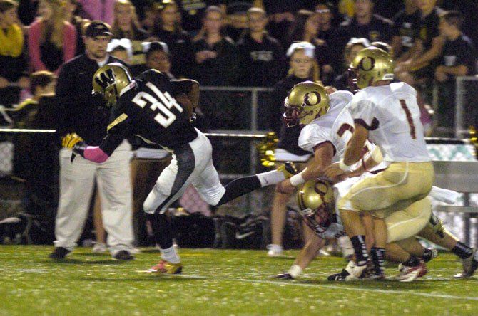 Westfield receiver Devon Burns caught four passes for 186 yards and two touchdowns against Oakton on Oct. 19.