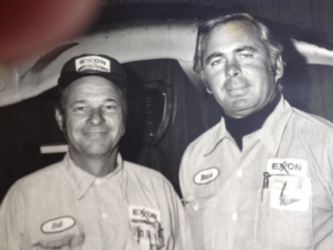 "Clyde Eastham ""Mitch"" Mitchell (right) and William Schumacher, established ""Mitch and Bill's"" ESSO, Potomac, in 1949. Located on a corner of Falls and River Roads, it is presently Mitch and Bill's Sunoco."