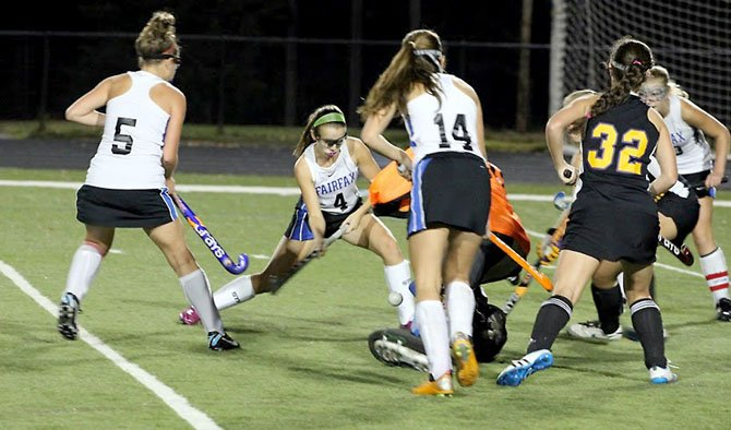 Fairfax sophomore Charlotte Duke (4) scored the only goal in a 1-0 victory against Lake Braddock in the first round of regionals on Oct. 23 at Fairfax High School.