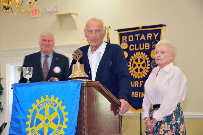 Bruce Jennings and Nancy Lee Jennings look on as Judge Bernard Jennings addresses members of The Fairfax Rotary Club.
