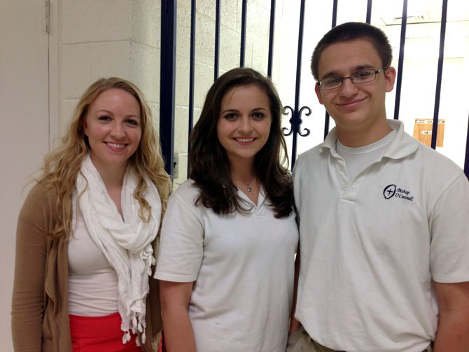 From left: Bishop O'Connell Choral Director Laura Van Duzer poses with Bishop O'Connell seniors Sophia Socarras and Ron Singel. Socarras was selected for the 2012 Virginia Music Educators Association (VMEA) Honors Choir and Singel was selected as an alternate.