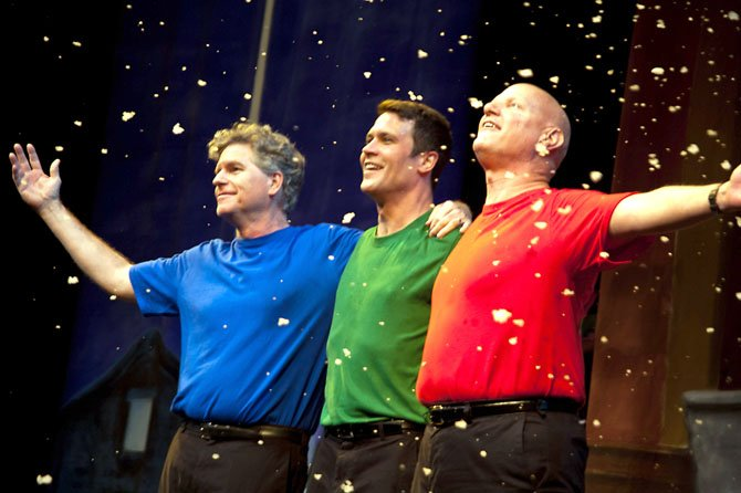 "(From left) Austin Tichenor, Matt Rippy and Reed Martin in the Reduced Shakespeare Company production of ""The Ultimate Christmas Show (abridged)."""