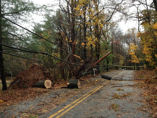 River Bend Road is cut off at the corner of Jeffery Road in Great Falls after a fallen tree knocked down a power line. This picture was taken on Tuesday, Oct. 30, at 12 p.m., the day after Hurricane Sandy swept through Northern Virginia.