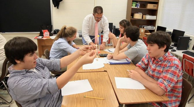 Teacher John McMillen leads a math class at St. Andrew's Episcopal School in Potomac. The school was recognized recently for its innovative approach to teaching students.