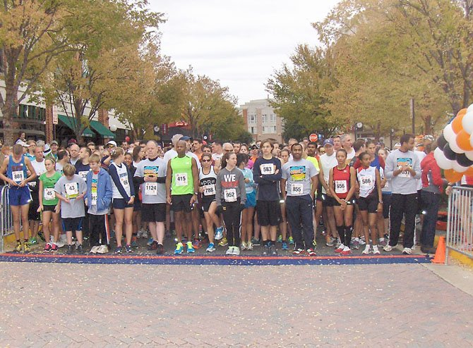 The starting line of the Goblin Gallop 5K race.