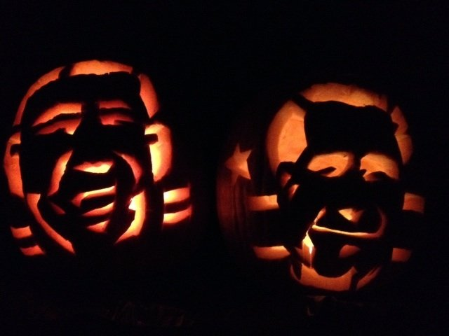 Jill Norvell of Reston carved two pumpkins on Tuesday, Oct. 30 in honor of Halloween and the election, one for Romney and one for Obama.