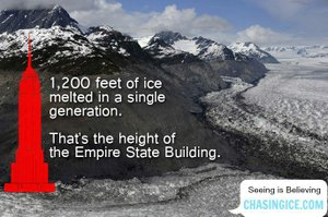This shows a large glacier that is disappearing ddue to global warming. Loss: water supply for people and crops in valleys below. From: <a href=