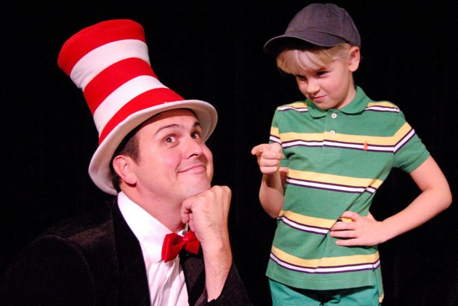 "The Cat in the Hat (Jamie Smithson) is taught a thing or two by JoJo (Svea Johnson) in Imagination Stage's ""Seussical,"" opening Nov. 14."