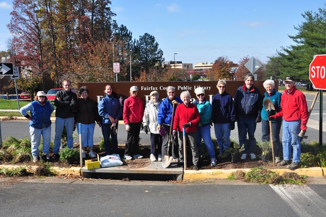 "Members of the Reston Garden Club during their ""Big Dig"" beautification project at the Reston Regional Library Monday, Nov. 5."