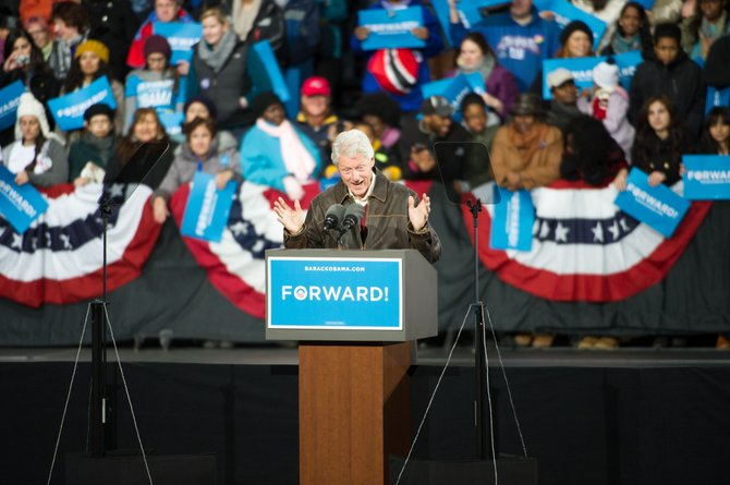 President Bill Clinton addressed 24,000 people at the Nov. 3 Obama rally held in Bristow.