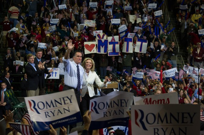 Republican presidential hopeful Gov. Mitt Romney and wife Ann received thunderous applause and cheers from the crowd of 10,000-plus at GMU's Patriot Center on Monday, Nov. 5. Virginia Governor Bob McDonnell (R) and Republican Senate candidate George Allen (in background) spoke to the crowd before introducing Romney.