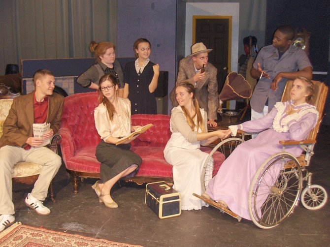Rehearsing a scene are (back row, from left) Hannah Sikora, Brandy Skaddan, John Turner and Ivonte Milligan; and (front row, from left) Kolya Rabinowitch, Sarah Marksteiner, Lauren Rainford and Carys Meyer.