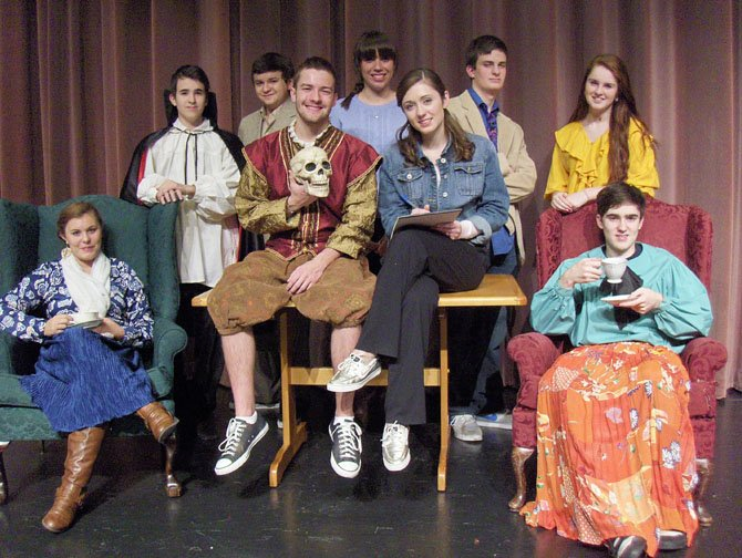 """Laughing Stock"" cast members include (from left) Allie Koenigsberg, Julian Sanchez, Alex Mann, Mitchell Buckley, Zoe Hawryluk, Madeleine Bloxam, T.J. Vinsavich, Samantha Dempsey and Brandon Sanchez (holding teacup)."