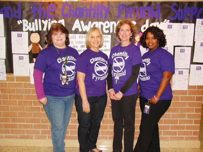 "Supporting ""Stand by Me"" at Greenbriar West Elementary are (from left) counselors Jeanne McKinley and Kristin Allington, Principal Lori Cleveland and Assistant Principal Lauryn Campbell."