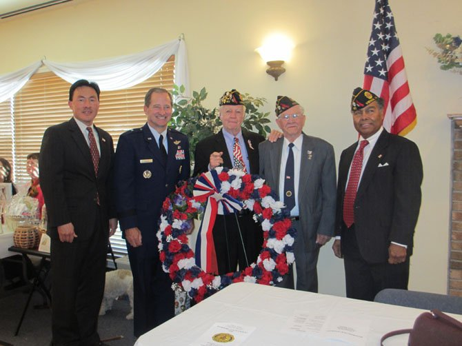 Del. Mark Keam [D-35], Brig. Gen. Bob Ranck (Ret), Post 180 Chaplain Bob Hatter, veteran Larry Rentrop, and Post 180 Commander Ron Patterson at American Legion Dyer-Gunnell Post 180 Veterans Day program.