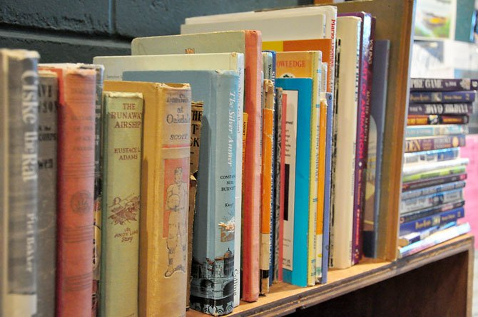A selection of books at Reston's Used Book Shop. The store features a wide selection of used books, with a large section of books on military history and the Civil War.
