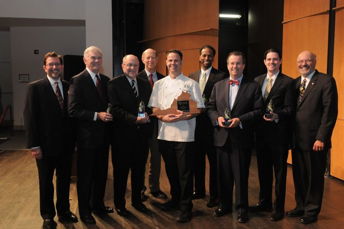 2012 Alexandria Chamber of Commerce Business Award recipients posed for a photo after the presentation on Monday night at the Schlesinger Center with Chamber Chairman Andrew Palmieri and Chamber President John Long. The awardees are, from left, Roger Parks of American Advertising Distributors of Northern Virginia for Small Business of the Year, Executive Director John Porter and Chair of the Board Gene Steuerle of the Alexandria Community Trust for Association/Non-profit of the Year, Business Leader of the Year Cathal Armstrong, Anthony Pryor of Marstel-Day LLC for Environmentally Friendly Business of the Year, Robert Shea of Grant Thornton LLP for Overall Business of the Year  and Philip Honaker Commonwealth One Federal Credit Union and Philip Honaker for Medium Business of the Year.