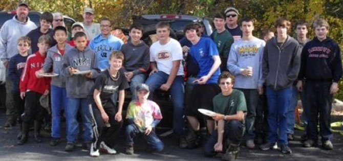 Members of Little Rocky Run Troop 577 helped pull trash from a section of the Little Rocky Run watershed in November.