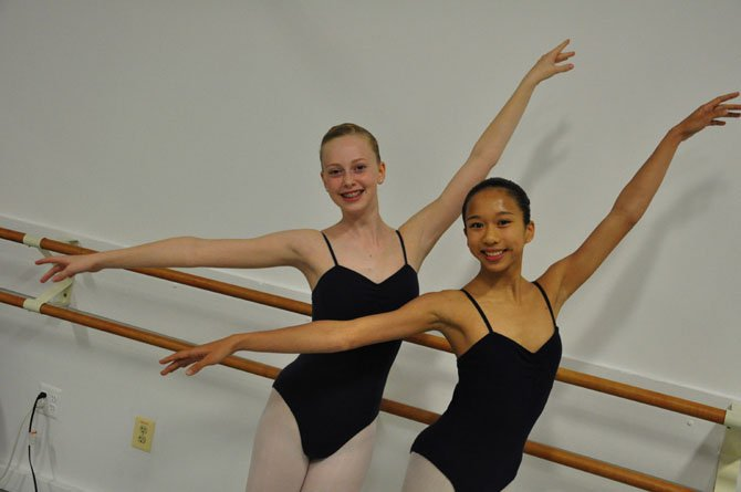 "From left, Lily Campbell and Ashley Tern, who will play Clara in the Classical Ballet Theatre's upcoming production of ""The Nutcracker."""
